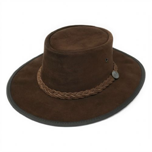 Barmah Squashy Chocolate Australian Leather Bush Hat - 1025